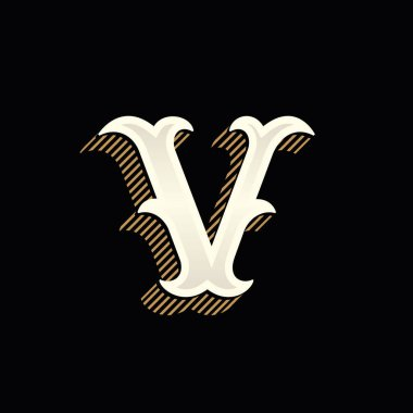 V letter logo in vintage western style with lines shadow.