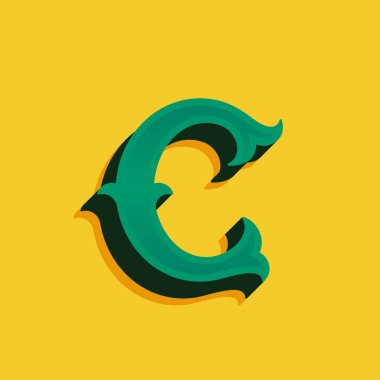 C letter logo in vintage money style with shadow.