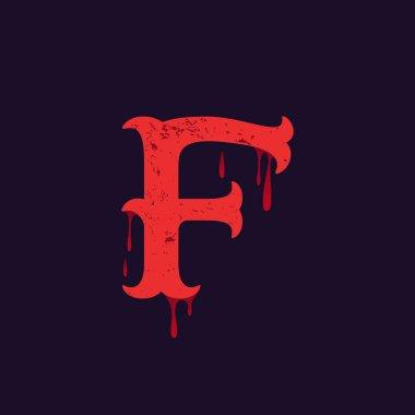 F letter logo. Vintage slab serif type with blood splashes.