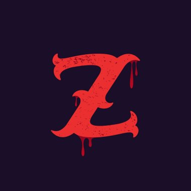 Z letter logo. Vintage slab serif type with blood splashes.