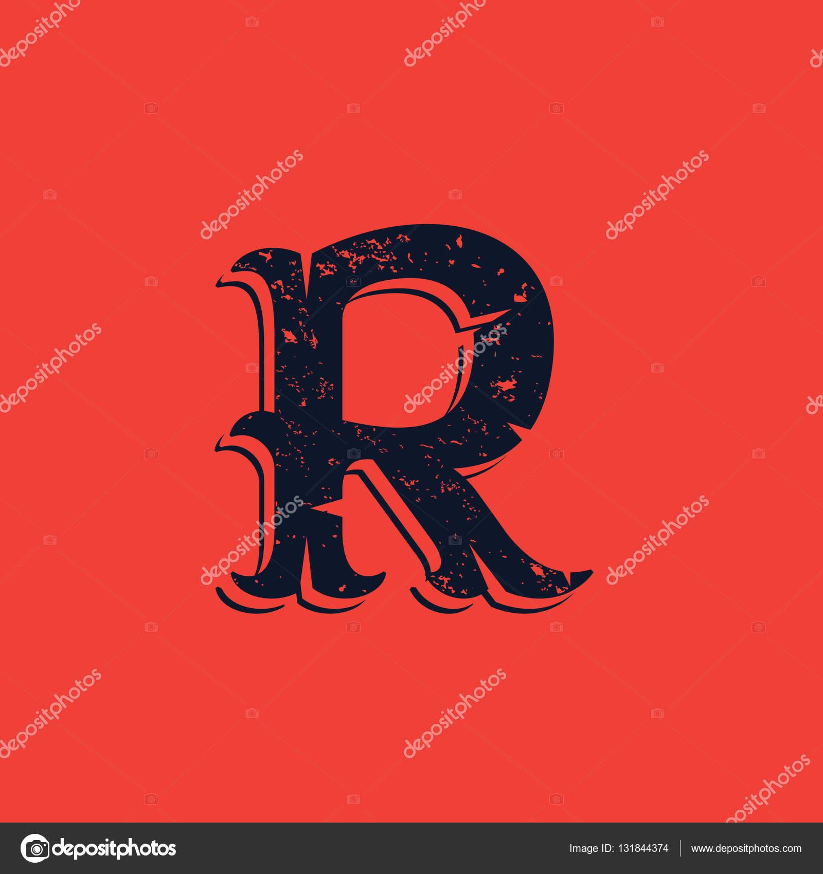 5fde560a7 Logotipo de letra R no Vintage estilo grunge victorian ocidental — Vetores  de Stock
