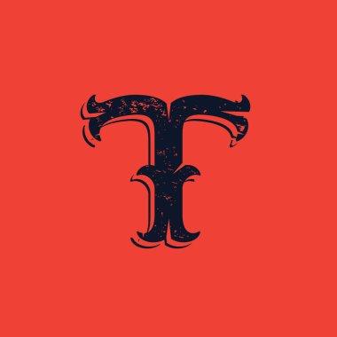 T letter logo in Vintage western victorian grunge style.