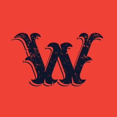 W letter logo in Vintage western victorian grunge style.