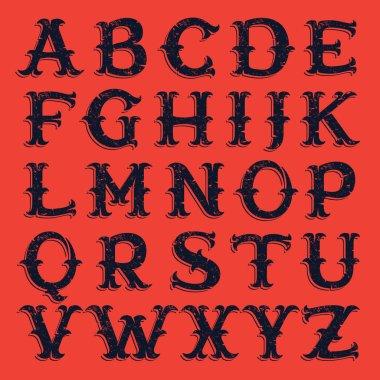 Vintage western victorian handmade grunge font.