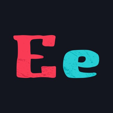 E letter logo hand drawn with bold brush.