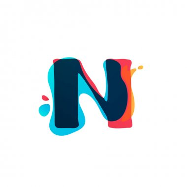 N letter logo with colorful watercolor splashes.