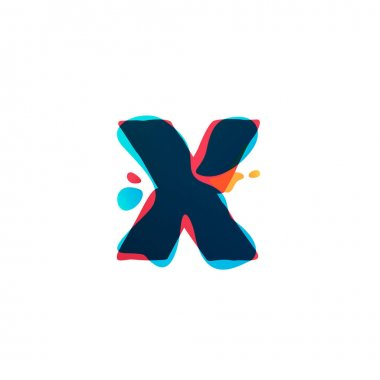 X letter logo with colorful watercolor splashes.
