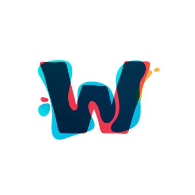 W letter logo with colorful watercolor splashes.