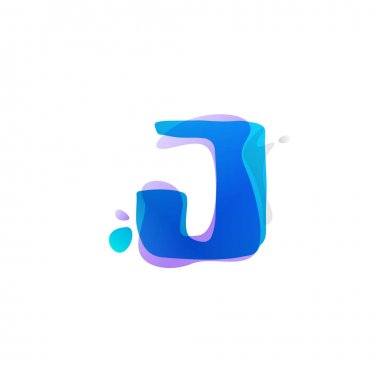 J letter logo with watercolor splashes.