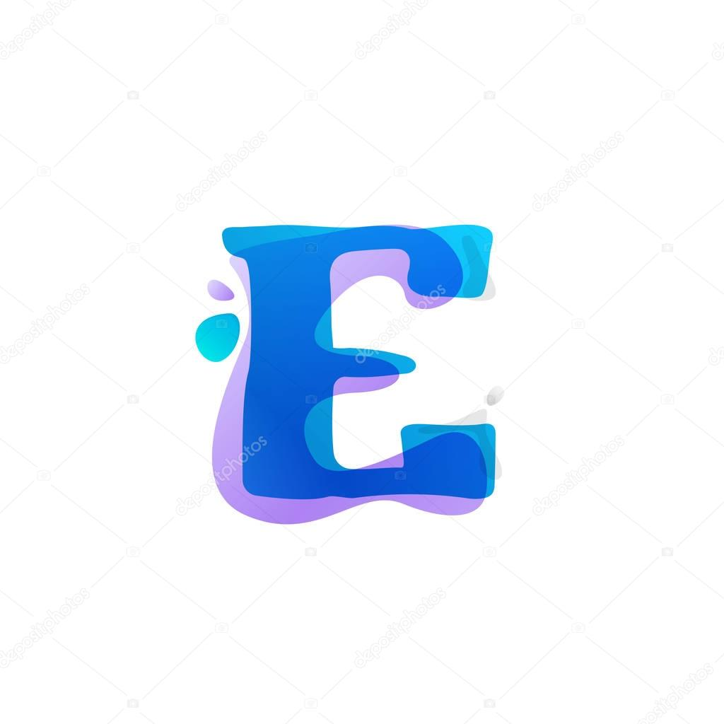 E letter logo with watercolor splashes.