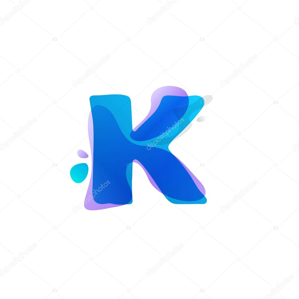 K letter logo with watercolor splashes.