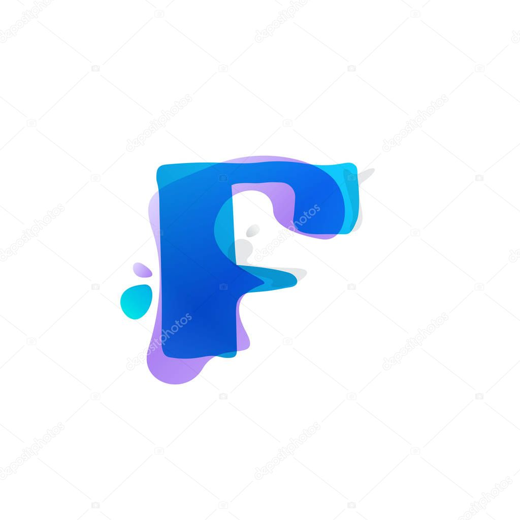 F letter logo with watercolor splashes.