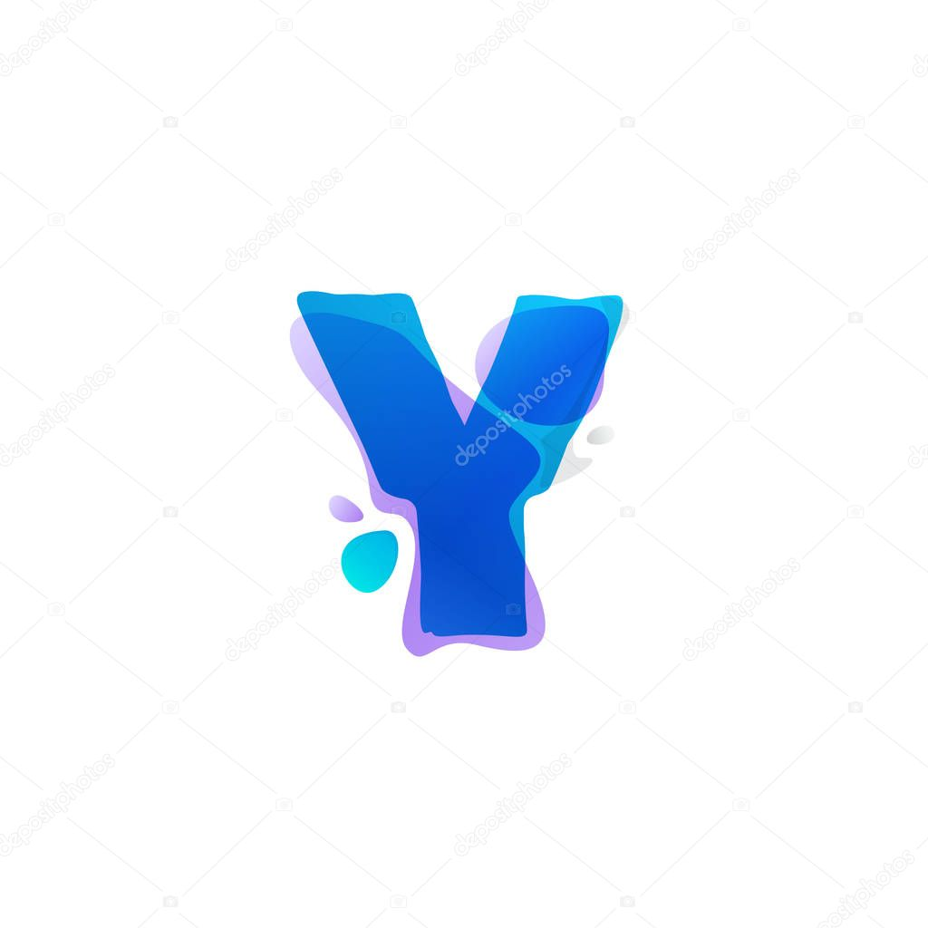Y letter logo with watercolor splashes.