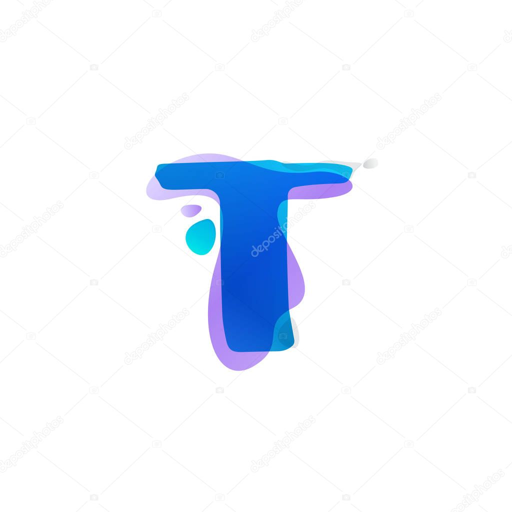 T letter logo with watercolor splashes.
