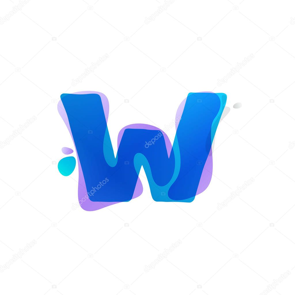 W letter logo with watercolor splashes.