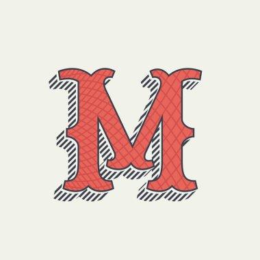 M letter logo. Retro western alphabet with line texture.