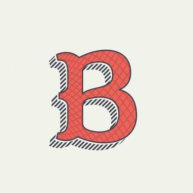 B letter logo. Retro western alphabet with line texture.