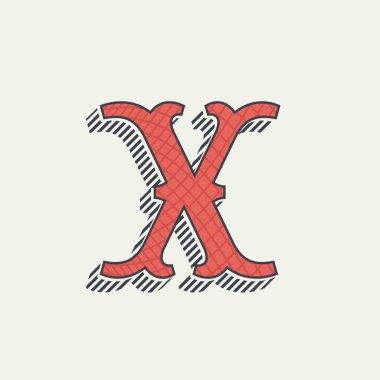 X letter logo. Retro western alphabet with line texture.