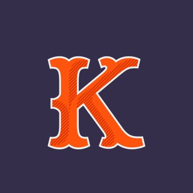 K letter logo with diagonal line shadow.