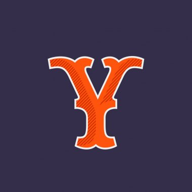 Y letter logo with diagonal line shadow.