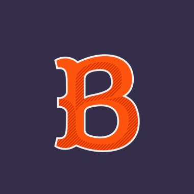 B letter logo with diagonal line shadow.