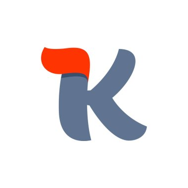 K letter logo with fast speed red flag line.