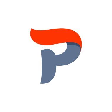 P letter logo with fast speed red flag line.