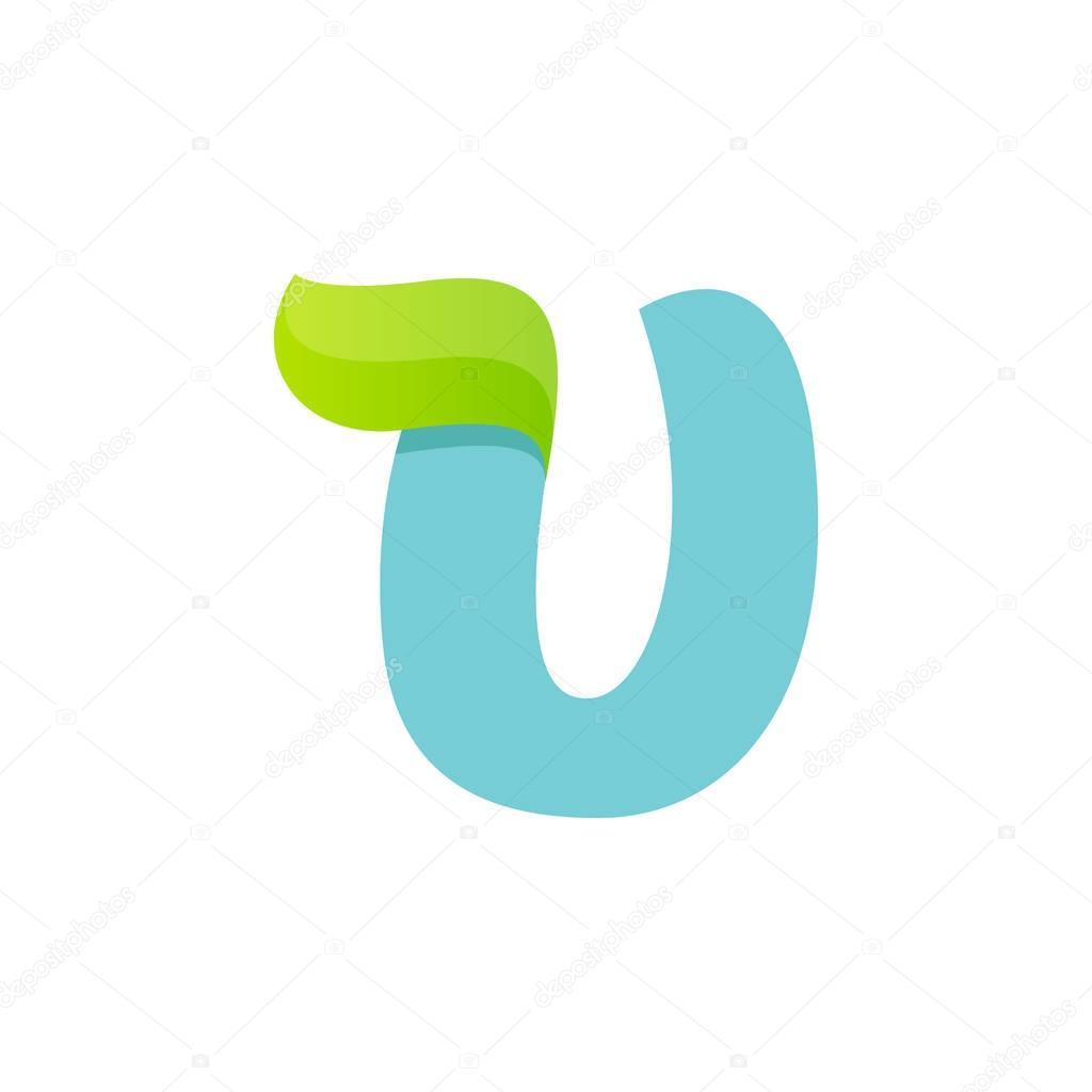U letter logo with green leaf.