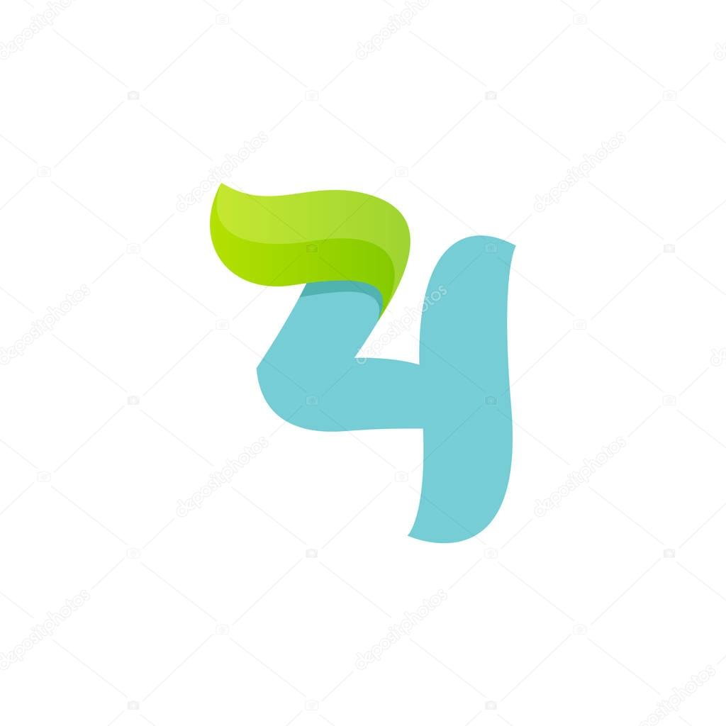 Number four logo with green leaf.