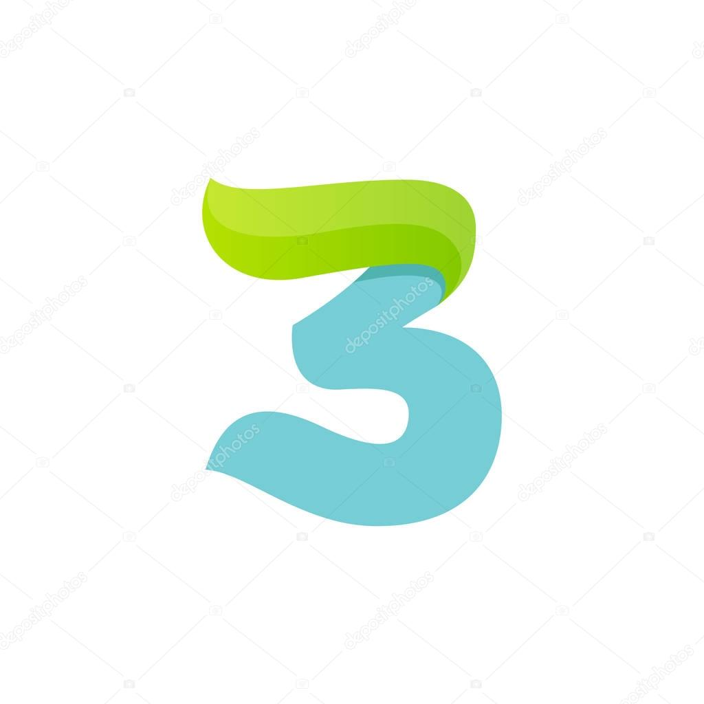 Number three logo with green leaf.