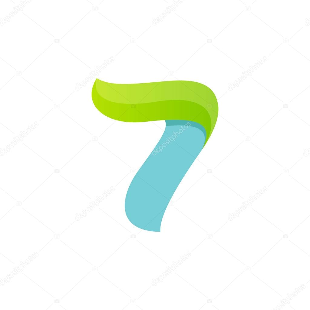 Number seven logo with green leaf.