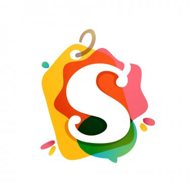 S letter logo with Sale tag icon. Watercolor overlay style. Negative space font. Perfect typeface for retail identity, showcase print, shop posters, etc.