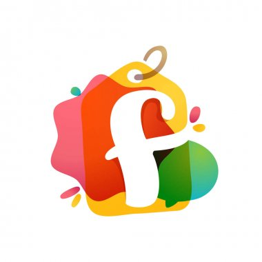 F letter logo with Sale tag icon. Watercolor overlay style. Negative space font. Perfect typeface for retail identity, showcase print, shop posters, etc.