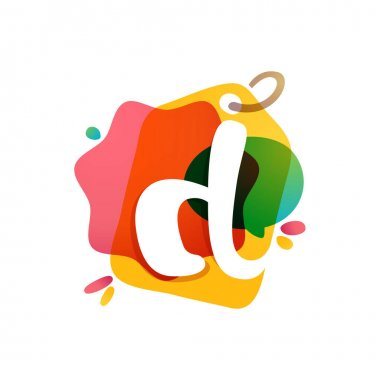 D letter logo with Sale tag icon. Watercolor overlay style. Negative space font. Perfect typeface for retail identity, showcase print, shop posters, etc.