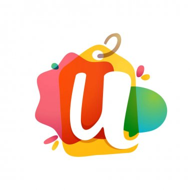 U letter logo with Sale tag icon. Watercolor overlay style. Negative space font. Perfect typeface for retail identity, showcase print, shop posters, etc.