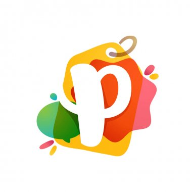 P letter logo with Sale tag icon. Watercolor overlay style. Negative space font. Perfect typeface for retail identity, showcase print, shop posters, etc.