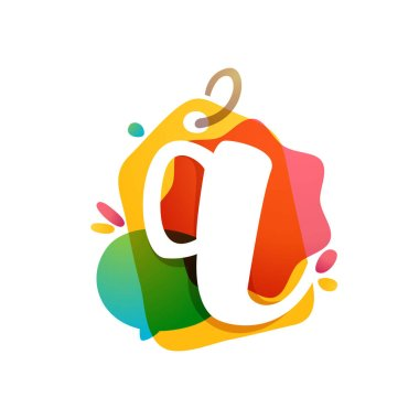 Q letter logo with Sale tag icon. Watercolor overlay style. Negative space font. Perfect typeface for retail identity, showcase print, shop posters, etc.