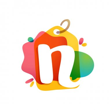 N letter logo with Sale tag icon. Watercolor overlay style. Negative space font. Perfect typeface for retail identity, showcase print, shop posters, etc.
