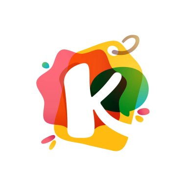 K letter logo with Sale tag icon. Watercolor overlay style. Negative space font. Perfect typeface for retail identity, showcase print, shop posters, etc.