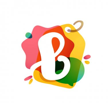 B letter logo with Sale tag icon. Watercolor overlay style. Negative space font. Perfect typeface for retail identity, showcase print, shop posters, etc.