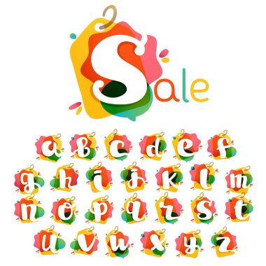 Alphabet with Sale tag icon. Watercolor overlay style. Negative space font. Perfect typeface for retail identity, showcase print, shop posters, etc.