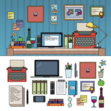 Writer or journalist work space on white background