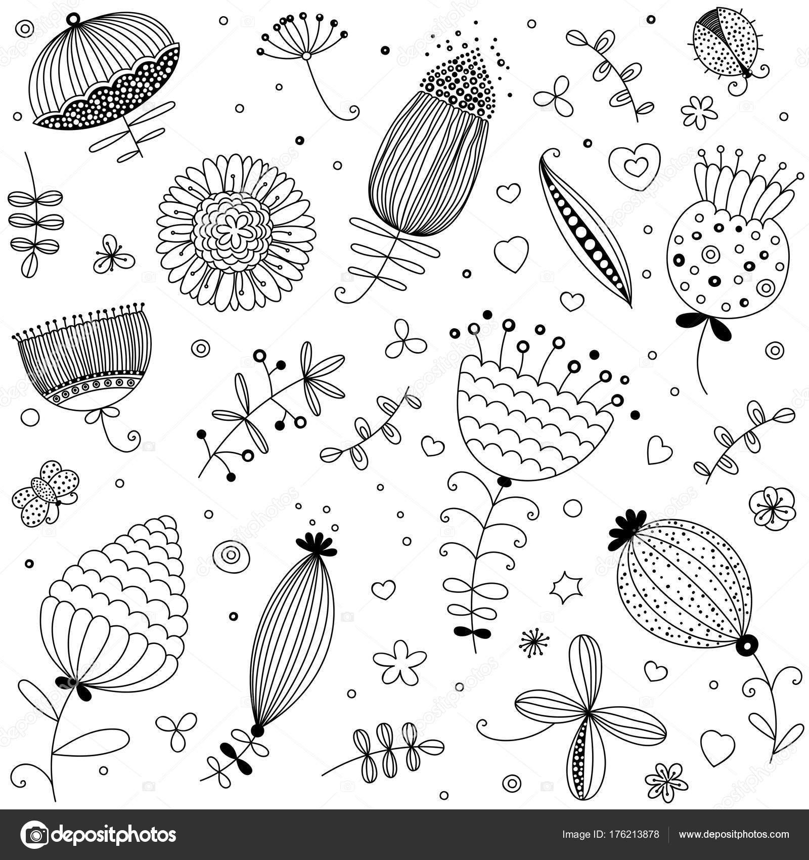 Kitap Sayfa Boyama çiçek çiçek Seamless Modeli Vektör Bitkiler Otlar