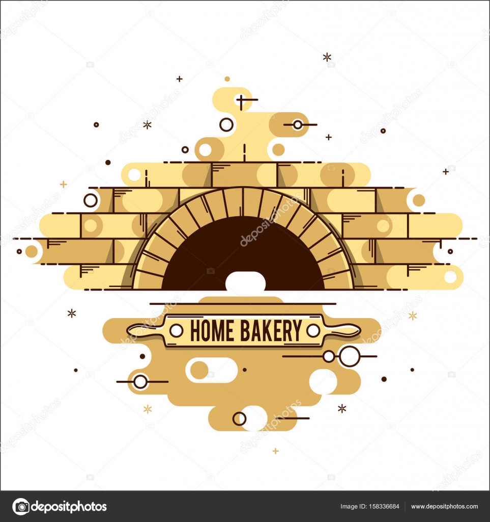 Wood Burning Stove Bake The Oven Stock Vector