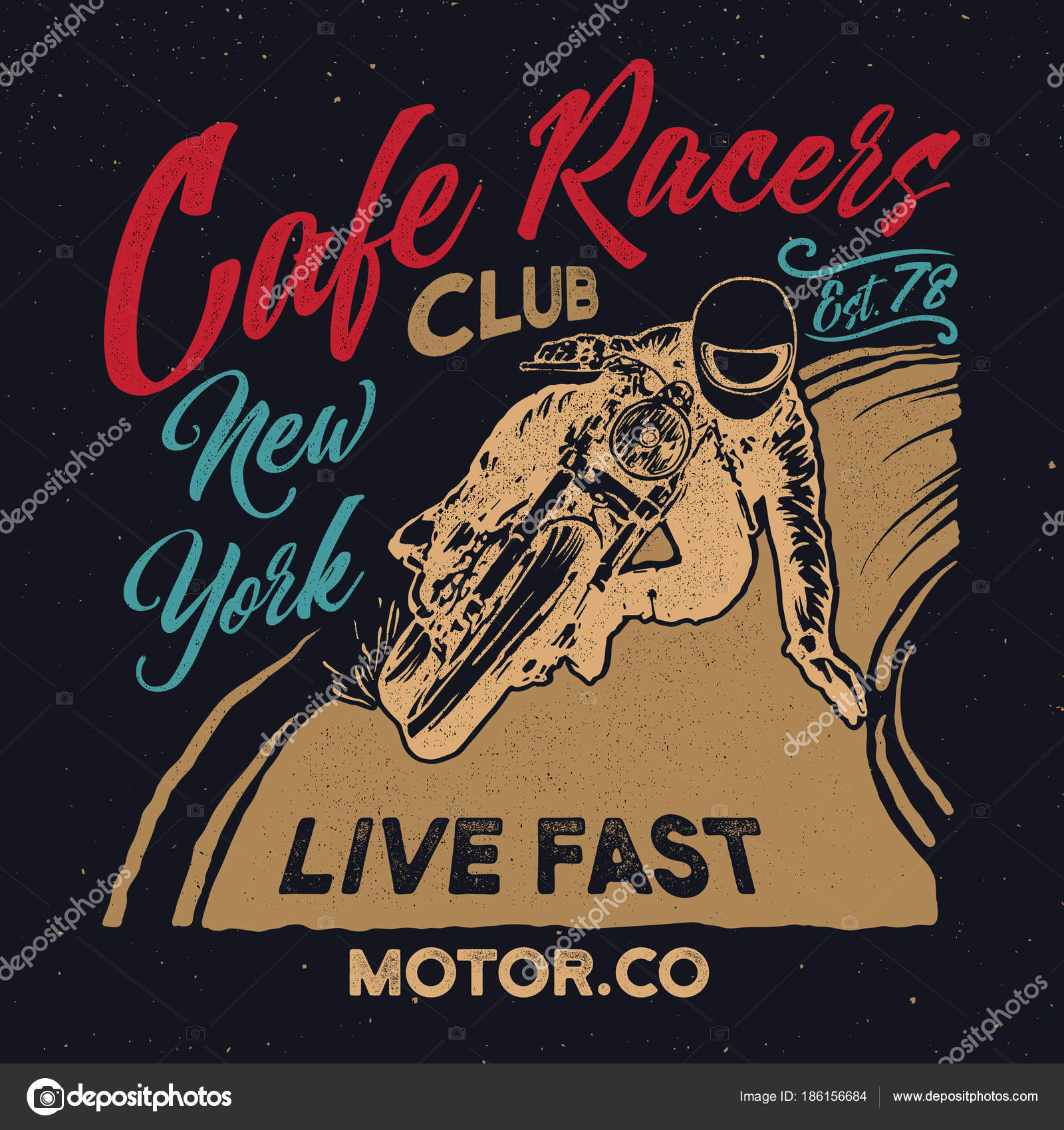 New York Cafe Racers Club MotorcycleCafe Racer Vintage PosterTypography Design For T Shirt Print Vector By KlausKunstler