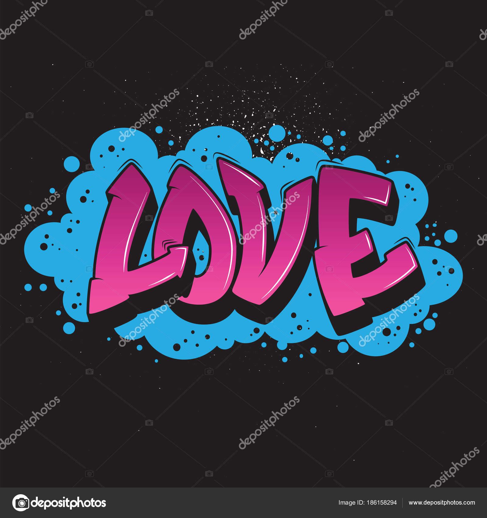 Gráfico de estilo de graffiti de amor vector de stock