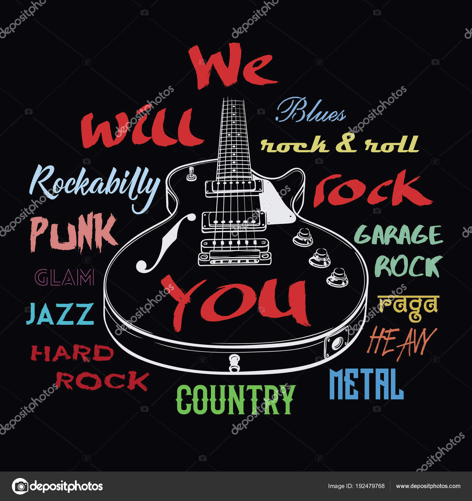 Electric guitar and We Will Rock You sign  — Stock Vector