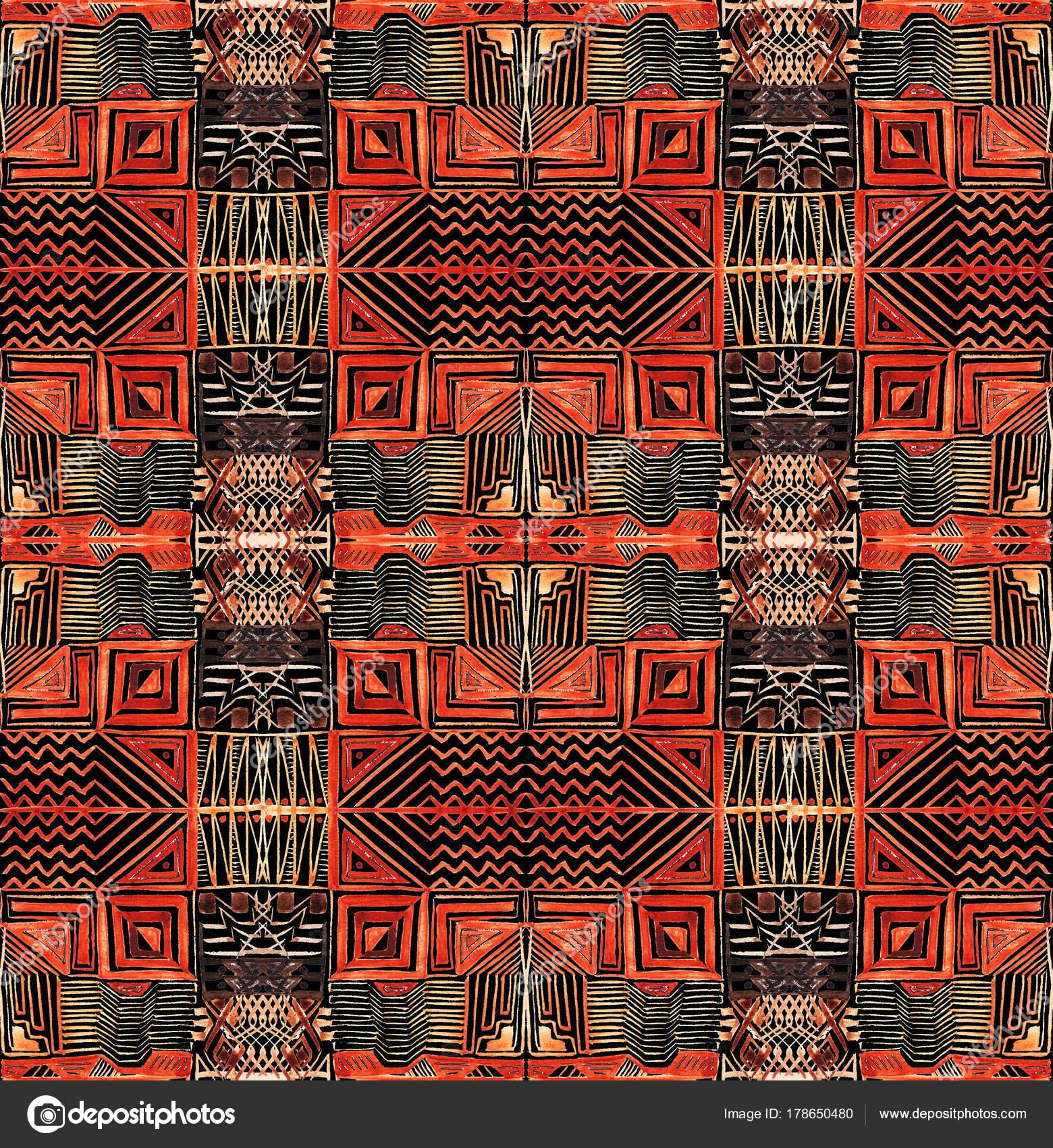 Afrikalı Kabile Bitki örtüsü Boyama Kesintisiz Geometrik Desenler