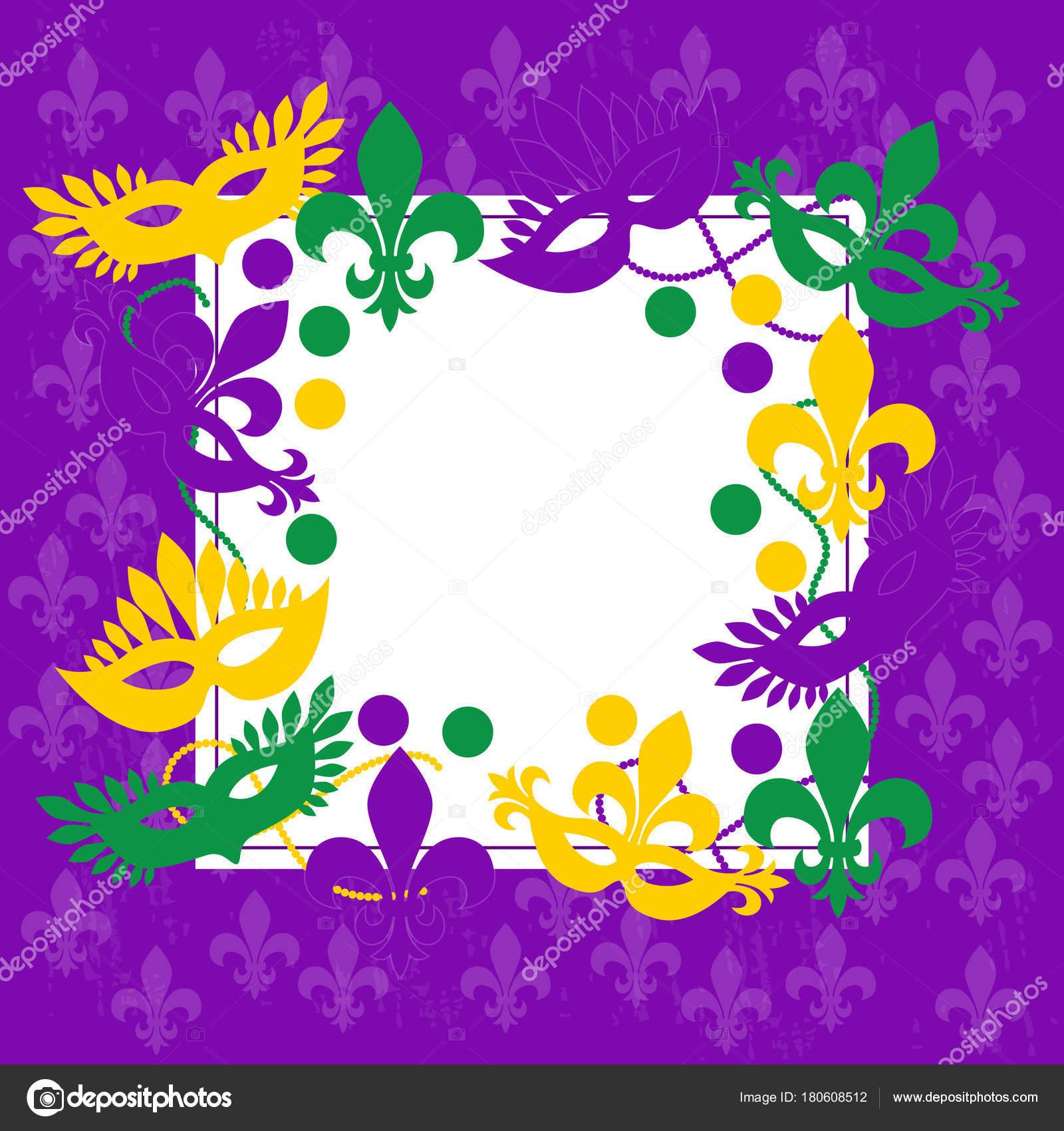 Mardi gras. Elegante marco de color púrpura. Lugar para el texto ...