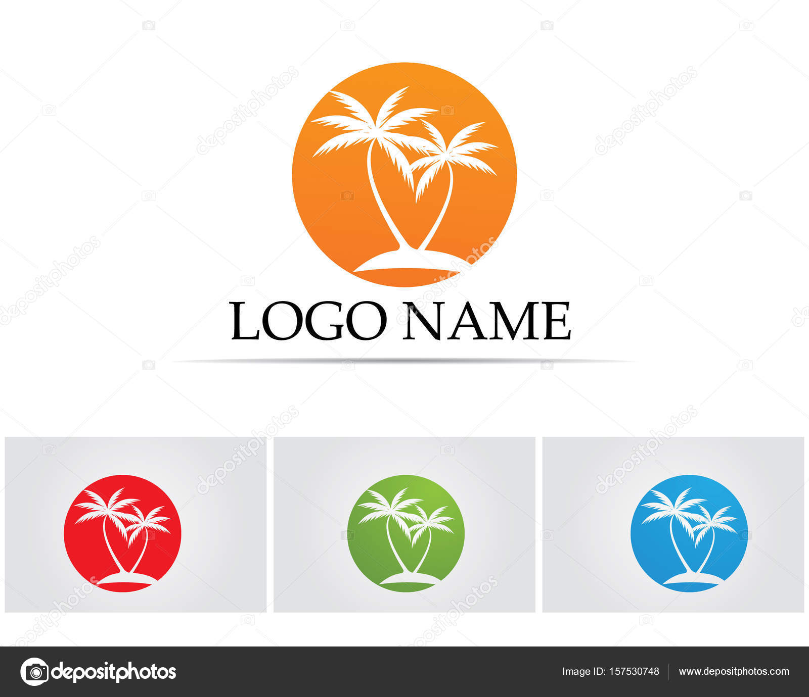 palm tree summer logo template vector illustration stock vector